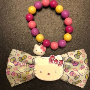 Hello kitty hair bow and bracelet set